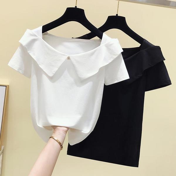 短袖女t恤年新款夏時尚心機大領口露鎖骨假領子洋氣短款上衣