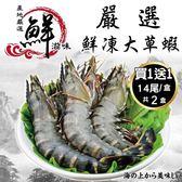 【海肉管家-買1送1】嚴選鮮凍大草蝦 共2盒(約淨重280g±10%/盒 每盒14尾入)
