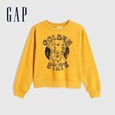 Gap女童 活力亮色趣味圖案休閒上衣 625110-金黃色