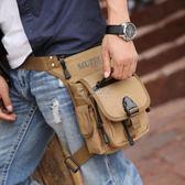 腿包牧之逸男士腰包休閒帆布包個性腿包戶外運動包時尚潮流小包包 俏女孩
