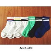 韓版復古雙條紋運動中筒襪子 S0201 雙槓條紋襪 韓妞必備基本款 素色純棉襪 阿華有事嗎