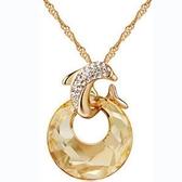 925純銀項鍊 鑲鑽吊墜-水晶優美海豚生日情人節禮物女飾品12色73aj182【巴黎精品】