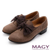 MAGY 微甜學院 織帶蝴蝶結絨面牛皮低跟鞋-可可