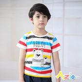 Azio 男童 上衣 彩色橫條紋熊熊印花短袖T恤(彩條) Azio Kids 美國派 童裝