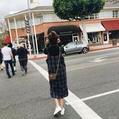 2018新款韓版中長款毛呢格子吊帶裙春夏款直筒洋裝學生背帶裙女洋裝「千千女鞋」