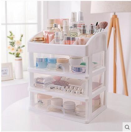 化妝品收納盒抽屜式塑料桌面置物架【白+透明(三層)】