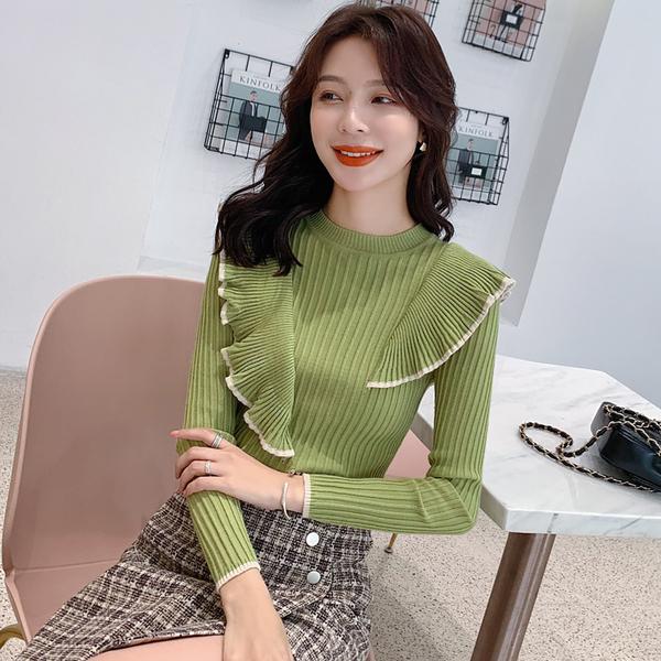 VK旗艦店 韓國風撞色綴邊荷葉邊針織衫長袖上衣