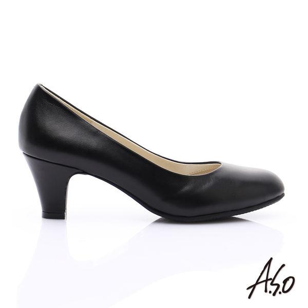 A.S.O 舒適通勤 全真皮素面黑軟皮窩心高跟鞋 黑軟皮