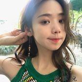 韓國個性簡約圓片長款流蘇耳釘