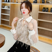 大碼女裝 長袖襯衫 網紗拼接流蘇亮片雪紡衫襯衫長袖網紅上衣FF1FA027衣時尚