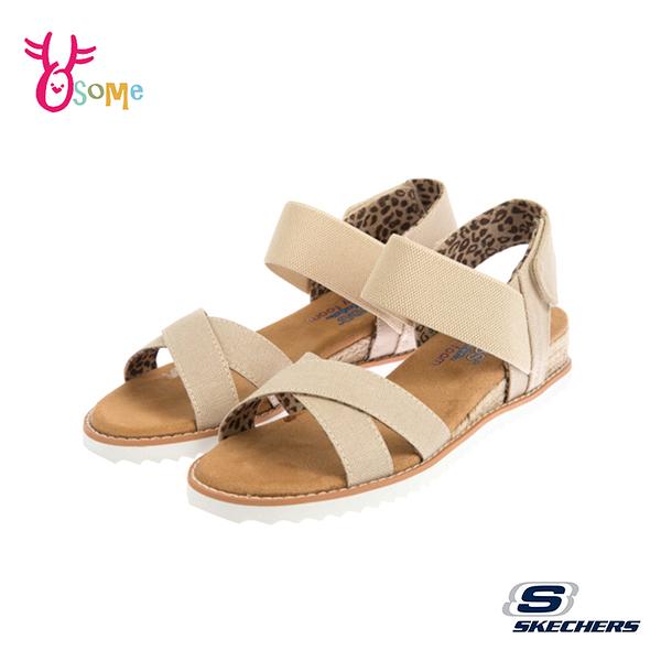 Skechers涼鞋 女款涼鞋 休閒涼鞋 DESERT KISS 穿搭涼鞋 低跟涼鞋 柔軟Q彈 U8205#米色◆OSOME奧森鞋業