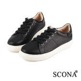 SCONA 全真皮 個性綁帶厚底休閒鞋 黑色 7242-1