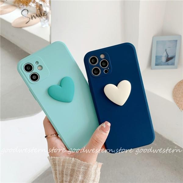 情人愛心 蘋果 iphone 13 12 11 Pro Xs Max XR SE2 i8 i7 i6sPlus 藍色綠色 手機殼 有掛繩孔 立體美感 保護套