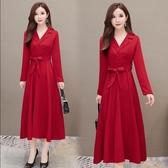 春秋新款韓版連身裙女系帶長袖襯衫裙子氣質顯瘦遮肚大擺長裙