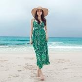 洋裝-細肩帶夏季雪紡印花V領女連身裙73pu16[巴黎精品]