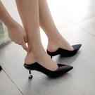 中跟鞋 細跟鞋 高跟鞋女新款性感兩穿細跟單鞋尖頭愛心跟女鞋子韓版女鞋《小師妹》sm2380