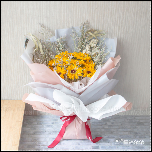 一心一意 11朵向日葵花束 乾燥花花束 畢業花束 父親節花束S008 求婚花束 情人節花束 生日花束