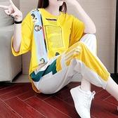 運動套裝 單件/套裝 運動休閒女夏新款潮牌寬鬆顯瘦韓版褲子短袖兩件套