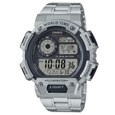 【CASIO】電力十足超值不鏽鋼帶電子錶-銀X黑(AE-1400WHD-1A)