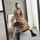 孕婦毛衣女高領保暖加厚寬鬆針織裙中長款秋冬季孕婦洋裝可哺乳 快速出貨