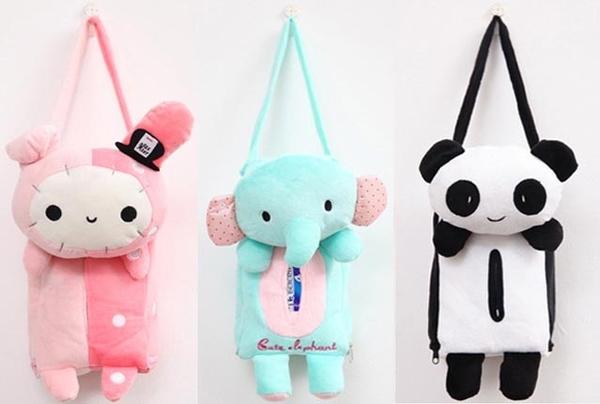 超可愛 兔子 貓熊 小象 掛式面紙套 吊掛式 親膚絨布 袋裝面紙包 面紙盒 掛頭枕後方 居家面紙套