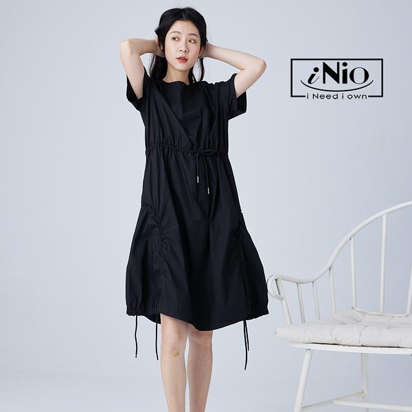 多層式不規則抽繩設計短袖造型長洋連衣裙(S-L適穿)-現貨快出【C1W3016】 iNio 衣著美學
