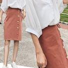 高腰單排扣繫帶短裙/包臀裙-橘紅 3碼【D927537】