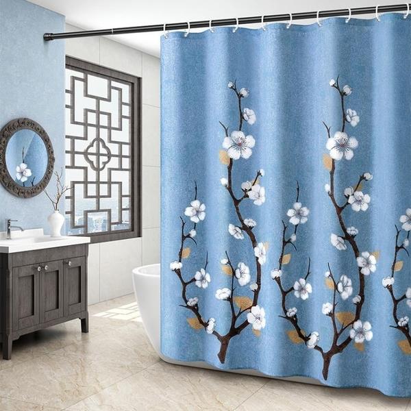 洗澡浴簾浴室免打孔衛生間門簾子淋浴房隔斷簾防水布掛簾洗浴加厚