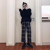 黑白格子褲女寬鬆直筒秋冬季高腰垂感百搭韓版加絨顯瘦休閒寬管褲 【雙旦狂歡購】