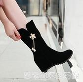 秋冬新款韓版馬丁靴女百搭短靴內增高中筒靴水鉆加絨大碼女鞋 聖誕節鉅惠
