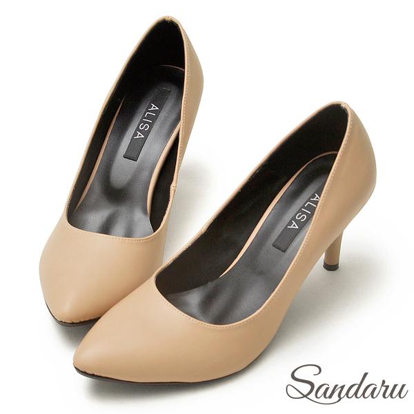訂製鞋 OL首選簡約尖頭高跟鞋-米