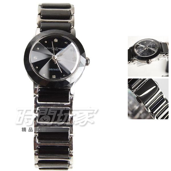 valentino coupeau 范倫鐵諾 陶瓷不銹鋼簡約小圓錶 女錶 防水手錶 學生錶 V61292黑小