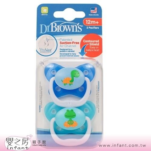 【嬰之房】Dr. Brown s布朗博士 PreVent功能性安撫奶嘴 12M+(2入-藍)