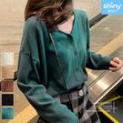 【V3420】shiny藍格子-微甜視覺‧純色V領長袖針織外套