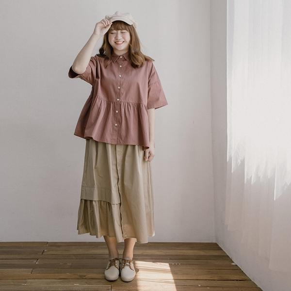Queen Shop【03020757】打摺拼接層次造型設計長裙 兩色售 M/L*現+預*