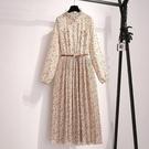 2021春裝新款碎花雪紡洋裝連衣裙女法式長裙泫雅風裙子仙女裙遮肚顯瘦 快速出貨