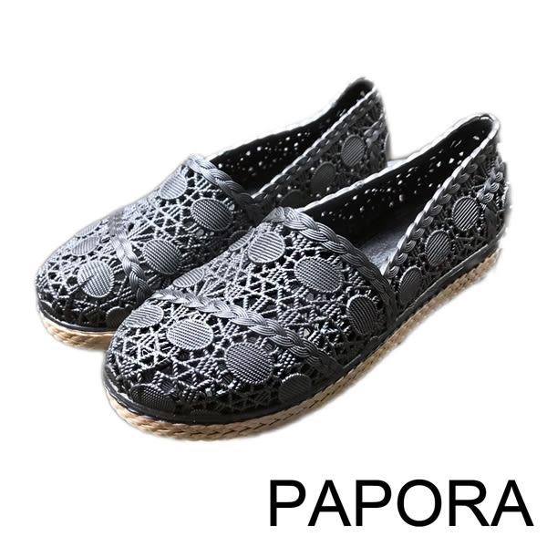 雨鞋.優雅仿編織麻繩底平底鞋娃娃鞋雨鞋【K1925】黑/米(限量)