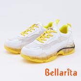 bellarita.網狀拼接厚底運動鞋(9901-28黃色)