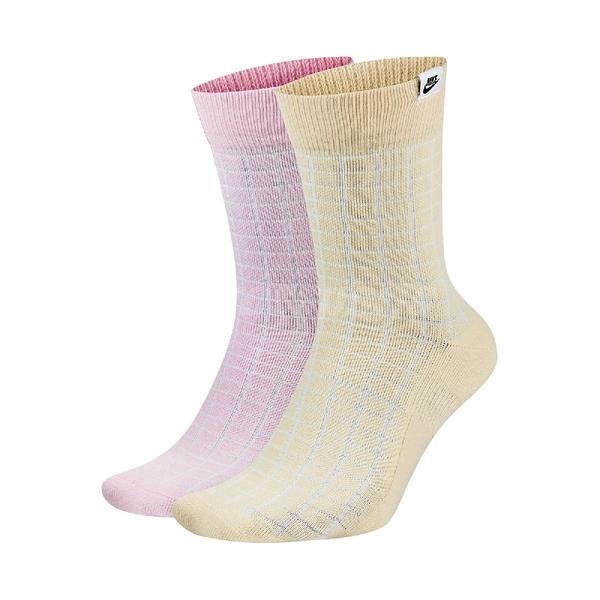 Nike 襪子 NSW SNKR Sox 粉紅 黃 男女款 長襪 小腿肚 一組兩入【ACS】 CK5590-902