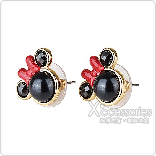 kate Spade x Minnie mouse聯名款 米妮設計珍珠鑲式穿式耳環(黑)