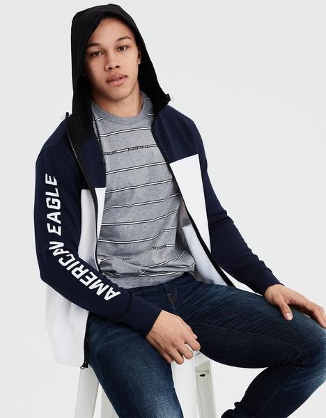 (BJGO) AMERICAN EAGLE_男裝_AE COLOR BLOCK ZIP-UP HOODIE美國AE高性能運動連帽外套 最新代購