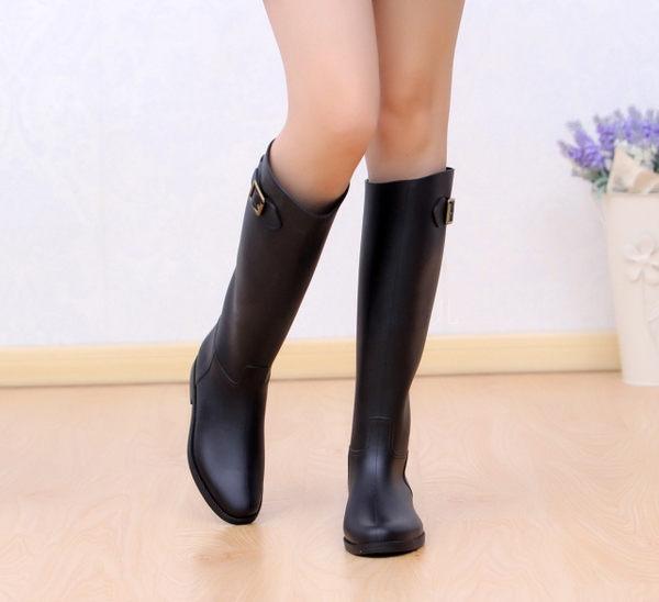 女式雨鞋 高筒搭扣顯瘦【藍星居家】