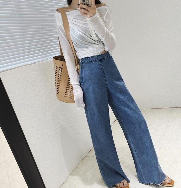 【GZ B1】牛仔寬褲 韓版寬鬆複古牛仔褲 側邊拉鏈顯瘦高腰喇叭長褲
