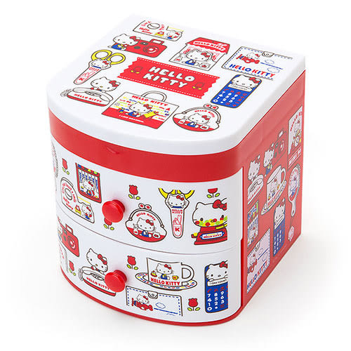 《Sanrio》HELLO KITTY復古懷舊系列桌上型塑膠置物櫃附鏡★funbox生活用品★_580147N