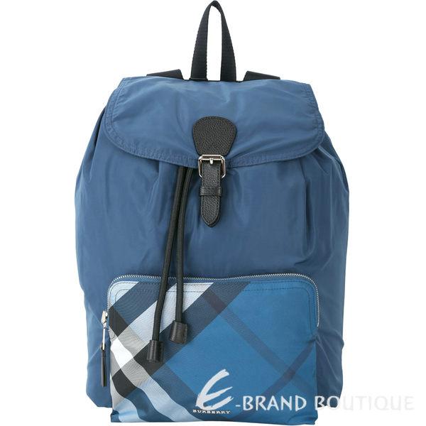 BURBERRY The Rucksack 格紋口袋尼龍抽繩後背包(藍色) 1730109-23