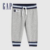 Gap嬰兒 簡約風格撞色邊飾針織褲 618780-淺灰色