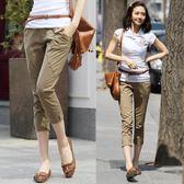 新款春夏薄款女七分褲 修身顯瘦鬆緊彈力棉質大碼休閒 LR2290【VIKI菈菈】