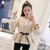 毛呢短外套女新款韓版時尚V領收腰顯瘦燈籠袖女裝潮 qw2506『俏美人大尺碼』