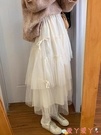 網紗裙 韓版學生氣質高腰顯瘦網紗半身裙女2021春裝新款寬鬆蛋糕裙長裙潮 愛丫 免運