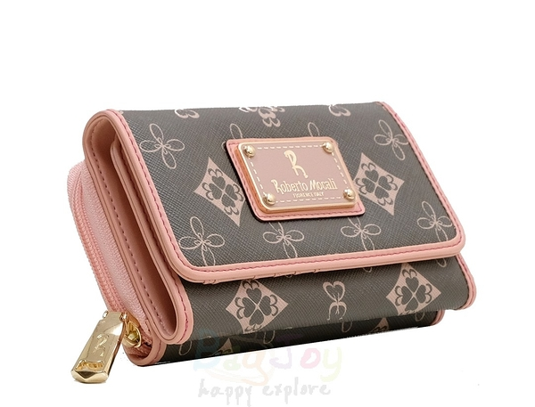 Roberto Mocali 諾貝兔 新茉綠花紋 拉鍊零錢袋扣式中夾 (RM-75209)